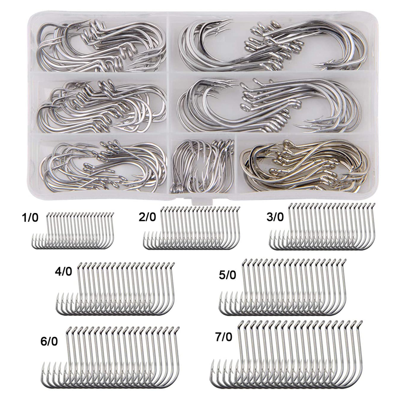 140pcs/box Octopus Offset Fishing Hooks Sharp Saltwater Stainless Steel Anti Corrosion Fishhook Bait Fishing Hook Kit 1/0-7/0