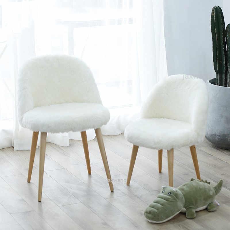 Moderne Design Weiche Wolle Pelz Lounge Stuhl Madchen Schlafzimmer Hocker Esstisch Stuhl Mode Wohnzimmer Stuhl Mobel Freizeit Loft Stuhle Wohnzimmersessel Aliexpress