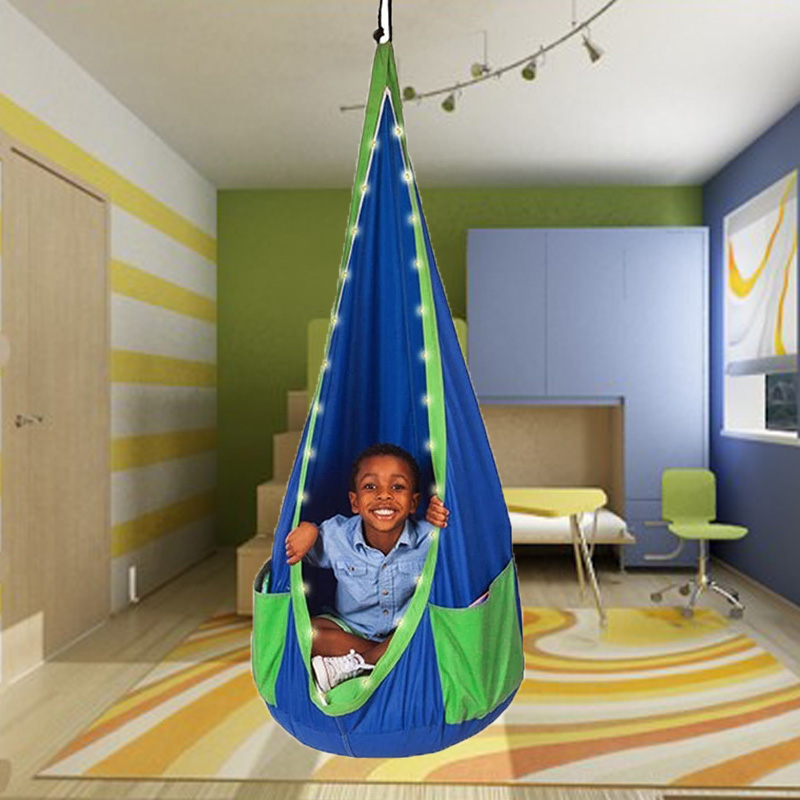 Kids Pod Swing Seat  Durable Hammock Chair PVC Inflatable Cushion OutdoorRoom Decor Creative Toy Children Playing Rest LED Light