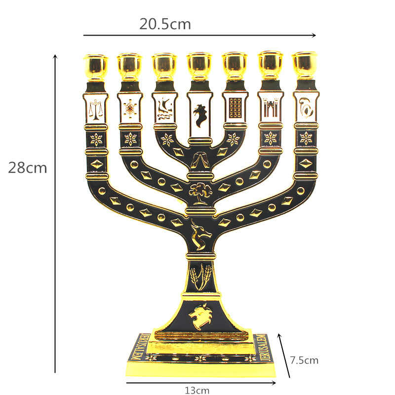 Złoty siedem oddział menora 12 plemion izraela świecznik żydowski