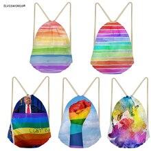 ELVISWORDS Trump Pride Printing Drawstring Bag  LGBTs Customize Your Logo Backpacks Rainrow Design Shopping Female Yoga Bags