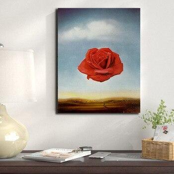 Salvador Dali Meditative Rose Flower Poster Painting Wall Art 2