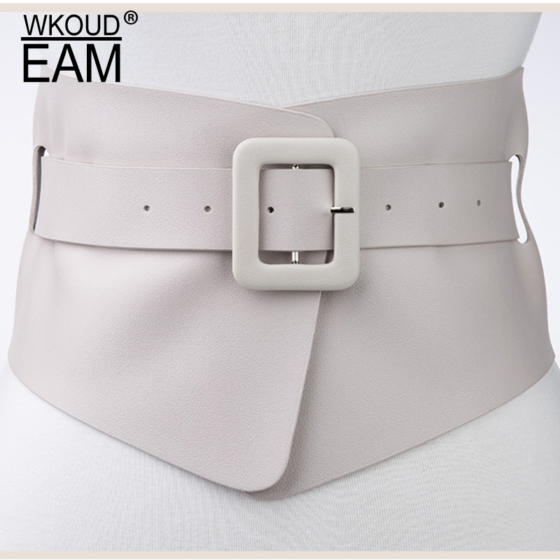 WKOUD EAM 2020 New Spring Summer Solid Color Personality Corset Belt Leather Women Fashion Temperament Wide Belt Tide PE036