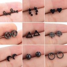 Boucles d'oreilles noires en acier inoxydable pour femmes, bijoux tendance, petit Triangle géométrique, cercle, lune, cadeau, 2020
