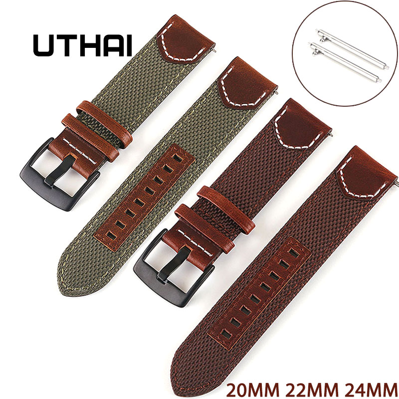 UTHAI Vintage Nylon Leather Strap 20MM 22MM 24MM For Samsung Galaxy 42MM 46MM GearS2 S3 Active 2 Quick Release Watchband Z33