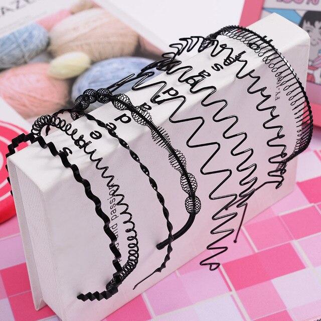 1 pc Fashion wave Mens Women Unisex Black Wavy Hair Head Hoop Band Sport Headband Hairband hair accessories