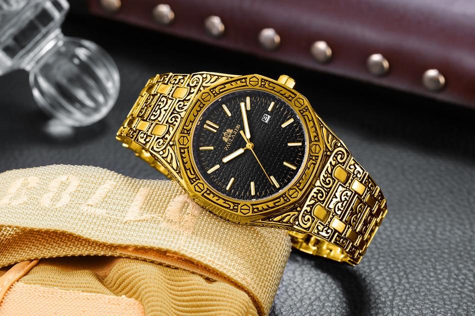 H65bbd7621d6c4dfaa12e84bf6701d075Y Men Carved Antique Vintage Luminous Rose Gold Yellow Gold Silver 2 Tones Fashion Blue Classic Quartz luxury watch