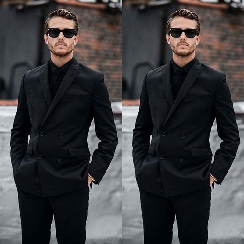60Double Breasted Royal Blue Custom Made Black Mens Suits Groom Wear Casual Wedding Suits Men Blazer Slim Fit Formal Business Suit Best Man