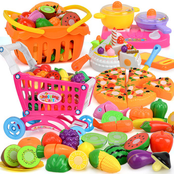 27-60PCS Kids Kitchen Pretend Play Toys Cutting Fruit Vegetable Food Girls Mini Kitchenware Game Education Toys For Children 1