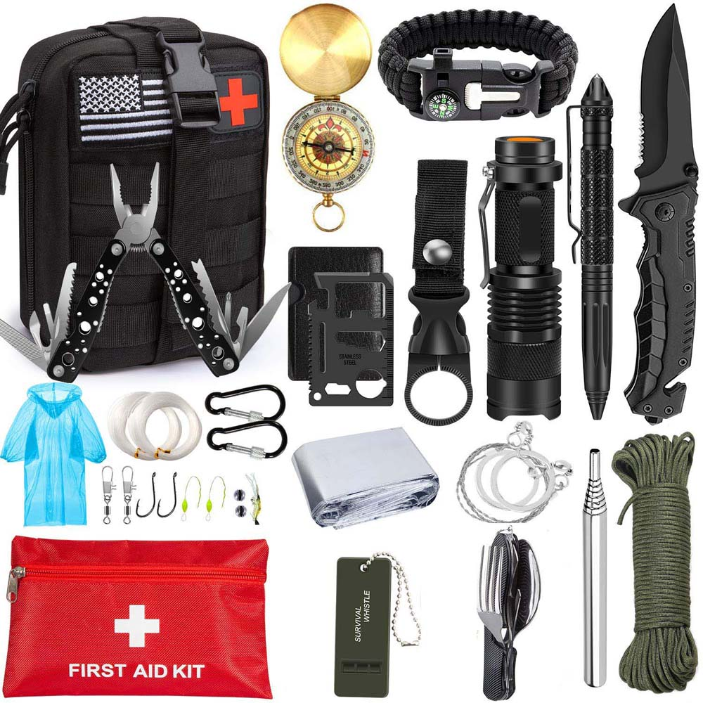 Emergency Survival Kit 46 in 1 Survival Gear Tool First Aid Kit SOS EDC Emergency Tactical for Camping Adventures