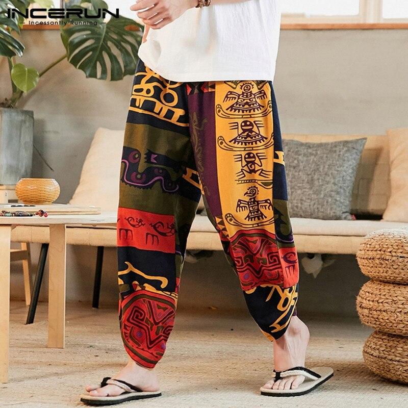 2020 Men Harem Pants Ethnic Style Printed Cotton Elastic Waist Pantalon Vintage Joggers Baggy Streetwear Casual Trousers INCERUN