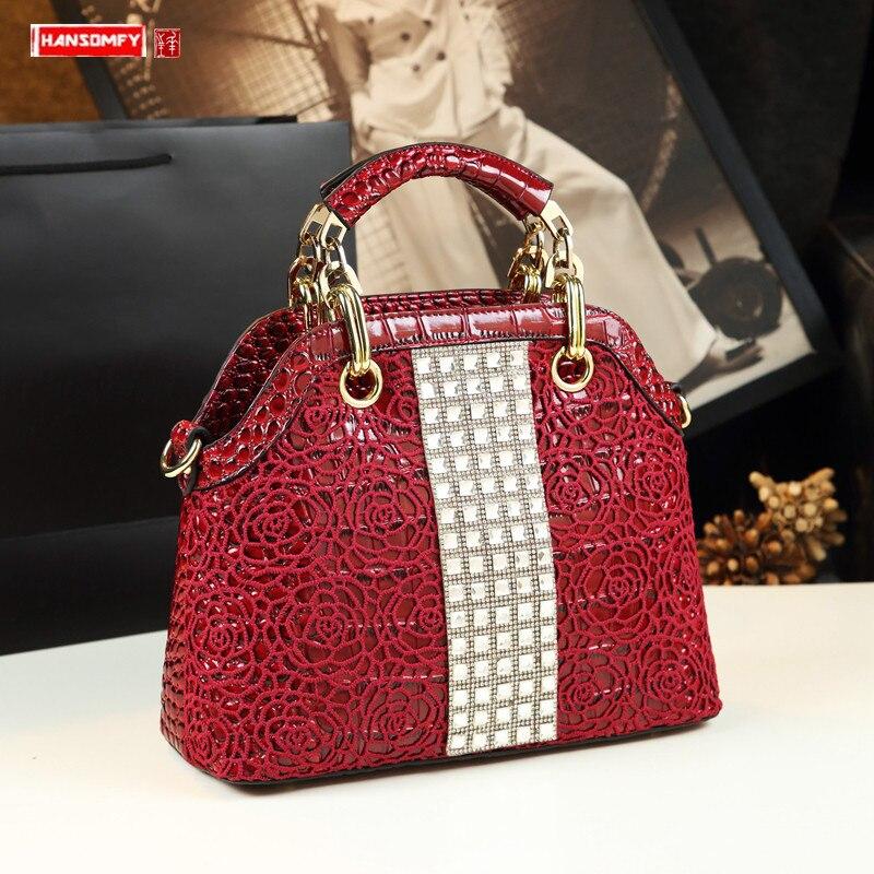 Moda de Luxo Diamantes Bolsa Feminina Couro Crocodilo Padrão Bolsas Femininas Rendas Flores Ombro Slung Strass