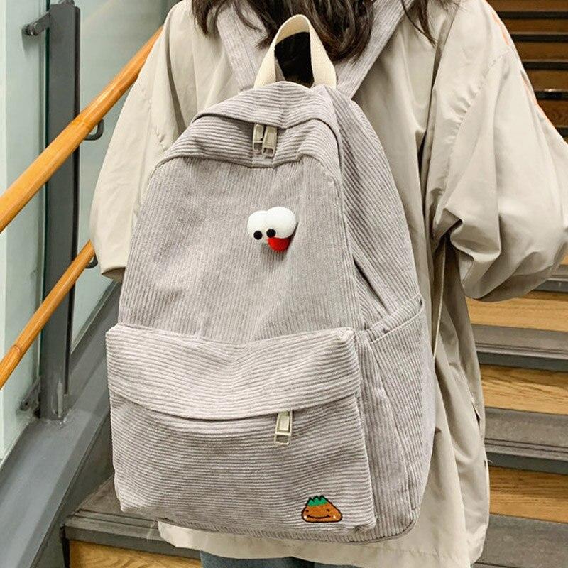 JOYPESSIE Fashion Women Preppy Style Soft Fabric Backpack Female School Backpack For Teenage Girls Striped Corduroy Backpack