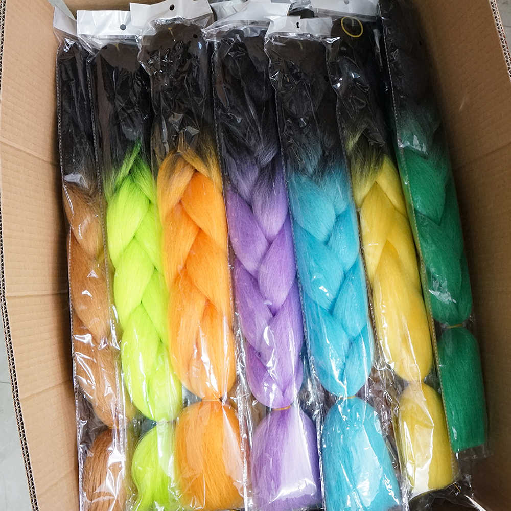 24 Inch 105 Color Jumbo Braiding Hair Pre Stretched Afro Wholesale Ombre Synthetic Crochet Hair Extension For Box Twist Braids