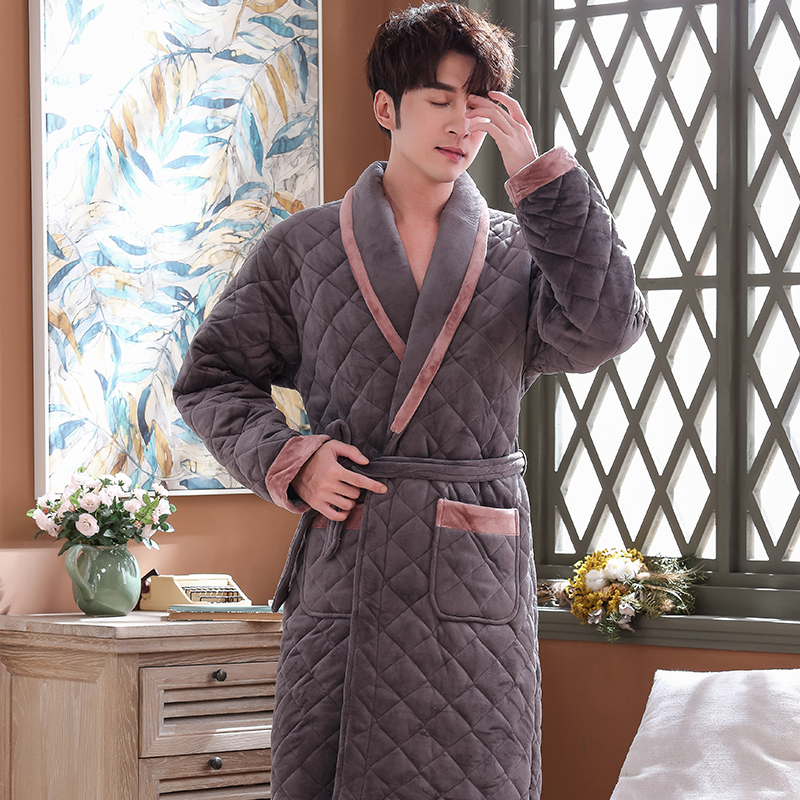 Men Casual Kimono Bathrobe Winter Flannel Quilted Long Robe Thick Warm Sleepwear Plus Size 3XL Nightgown Male Casual Home Wear