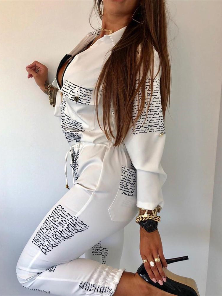 2019 Autumn Women Elegant Fashion Casual Romper Female White Overall Letter Print Zipper Pocket Drawstring Design   Jumpsuit