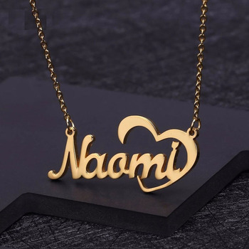 Personalized Heart Name Necklace Gold Color Stainless Steel Custom Necklaces for Women hollow Gift Nameplate Pendant Choker BFF pure 24k yellow gold pendant 3d craved hollow heart bracelet pendant 1g