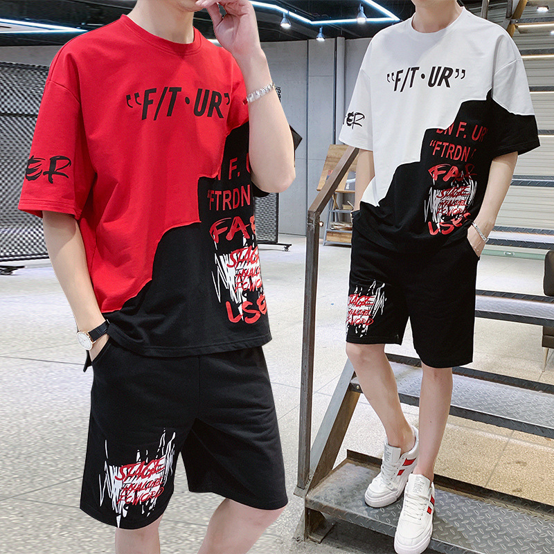 Sports Set Men Summer Casual Teenager T-shirt Korean-style Popular Brand Junior High School High School Students Thin Summer Wea