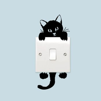 Cute Cartoon Black Cat Switch Sticker Room Living Room PVC Durable Removable Waterproof Light Switch Decor DIY Art wall stickers image