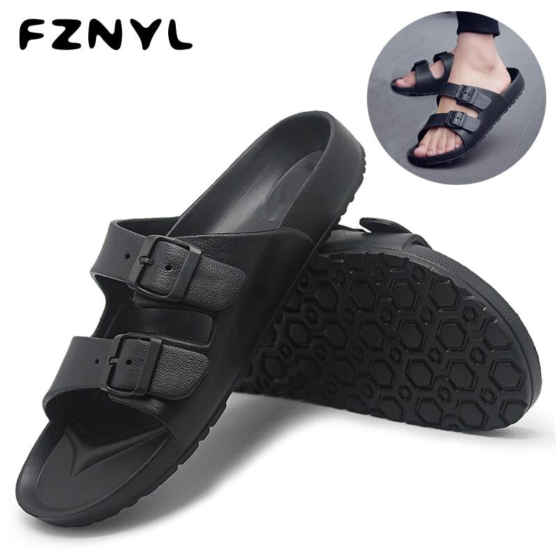 FZNYL Men Shoes Summer Beach Sandals Soft Breathable Buckle Strap Design Casual Sandalias Zapatos De Hombre Classic Black