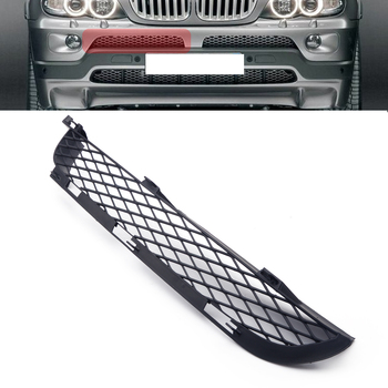 ABS Right Black Front Grilles Upper Bumper Mesh Grill Trim Moulding Decoration fit for BMW X5 E53 2004 2005 2006 image