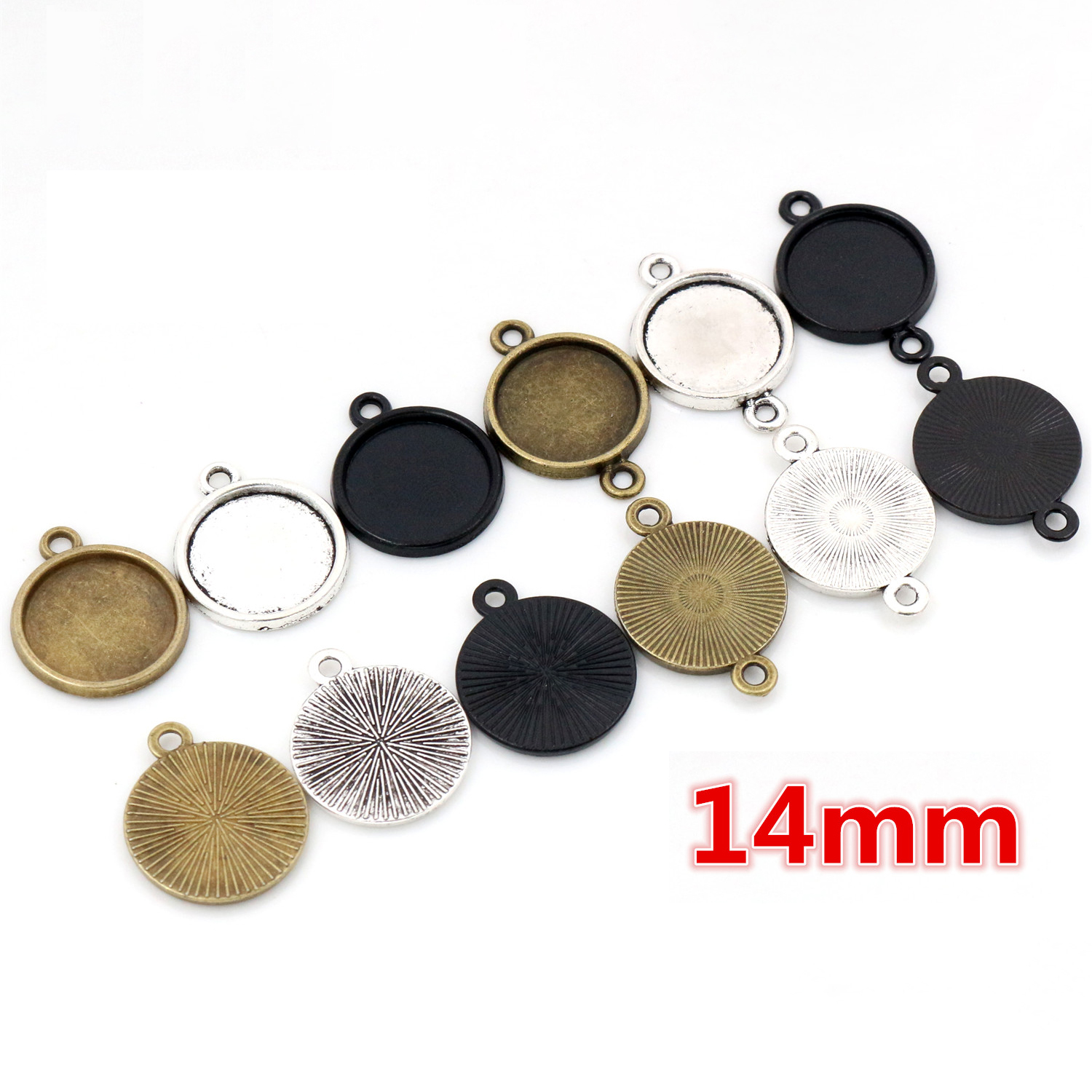 30pcs 14mm Inner Size Antique Bronze Silver Plated And Black Plated 6 Simple Style Cabochon Base Cameo Setting Charms Pendant