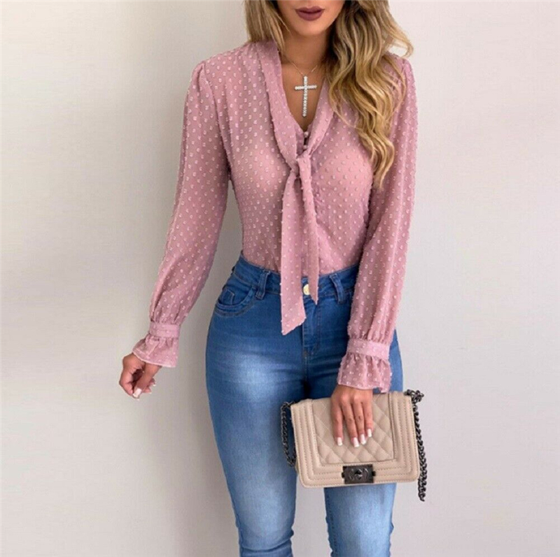 Long Sleeve Women Blouses Shirts Sexy V Neck Female Ladies Mesh Sheer Long Sleeve Top Shirt Blouse Casual Tee Shirt