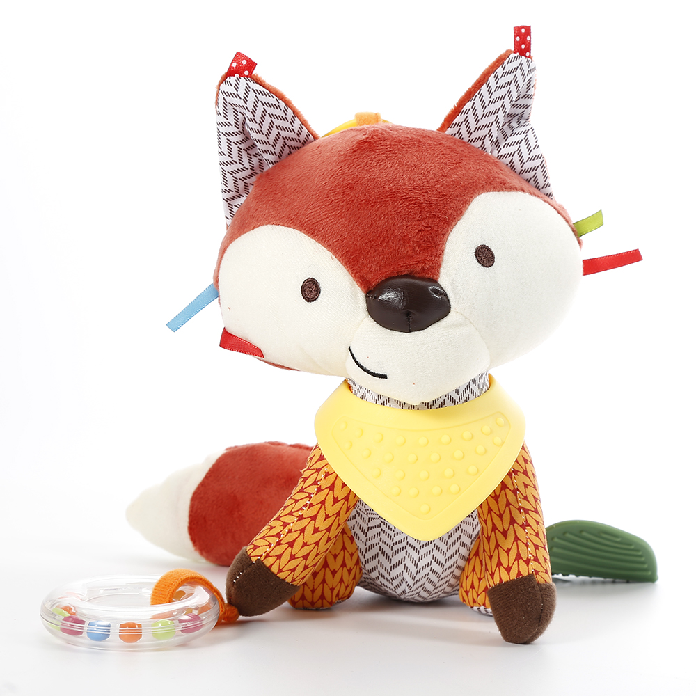 1PC Baby Cute Fox Rattles Infants Animal Stroller Car Toys Clip Lathe Hanging Seat & Stroller Toys Mobile Music Educational Toys
