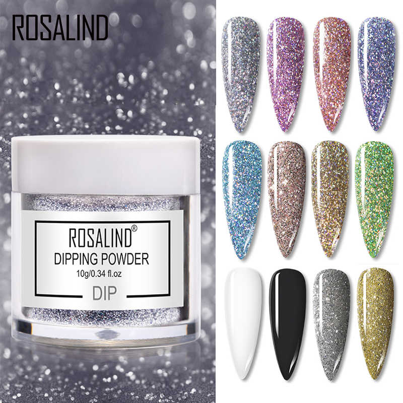 ROSALIND Dip Bubuk Kuku Seni Polandia Hologram Glitter Gradient Bersinar Chrome Pigmen Mencelupkan Bubuk Set Kuku Serpihan Payet