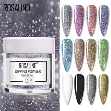 ROSALINDผงเล็บHolographic Glitter Gradient Shining Chrome Pigment Dipping Powderชุดเล็บFlakes Sequins(China)