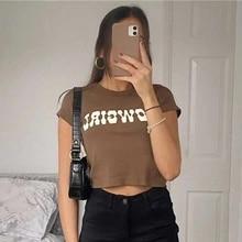 Streetwear T-Shirt Tees Pullover Short-Sleeve Crop-Tops Letter Print Slim Vintage Sexy