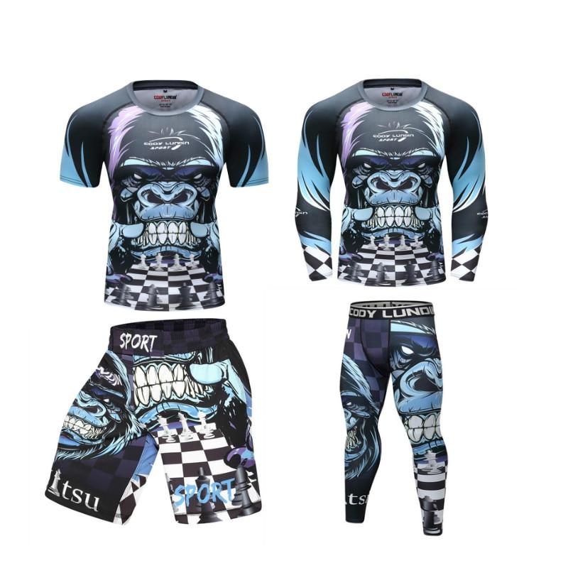 Muay Thai Boxing Shirt MMA Fighting Sport Skull 3D Print Rash Guard Jersey Shirt
