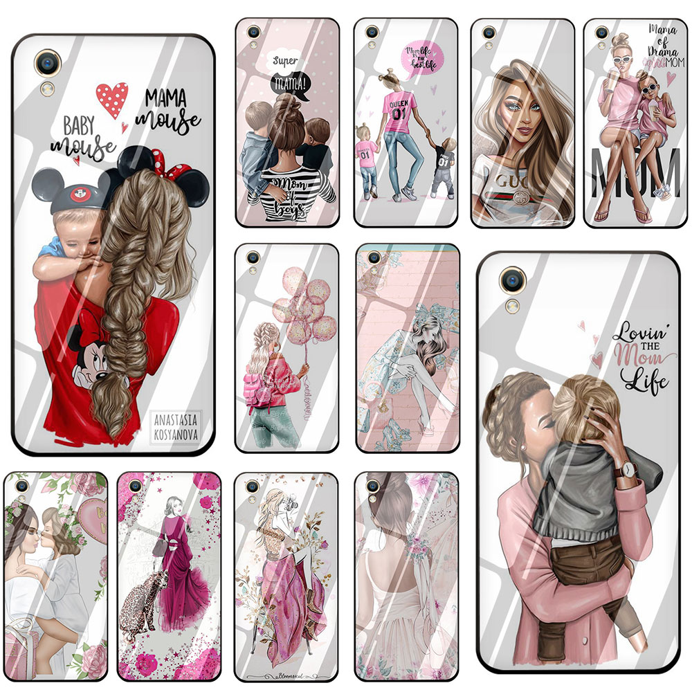 Fashion Black Brown Hair Baby Mom <font><b>Girl</b></font> Queen Tempered Glass Phone Cover <font><b>Case</b></font> For <font><b>OPPO</b></font> Reno Realme A3S A5 A1K A9 A37 <font><b>A57</b></font> A59 A73 image
