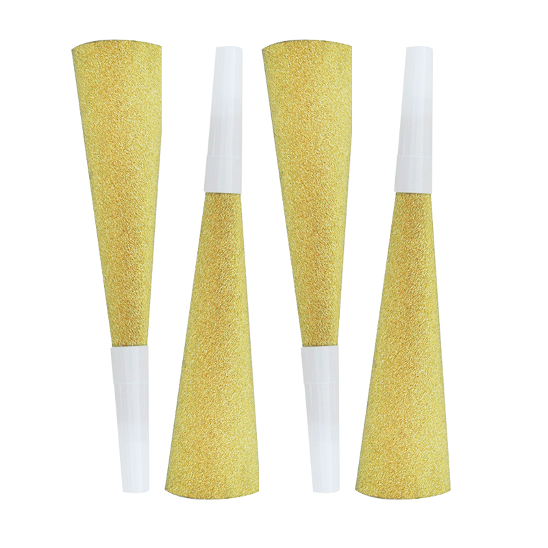 6pcs Blowout Glitter Gold Paper Party Props Noise Maker Birthday Kids Children's Day Toy Whistle
