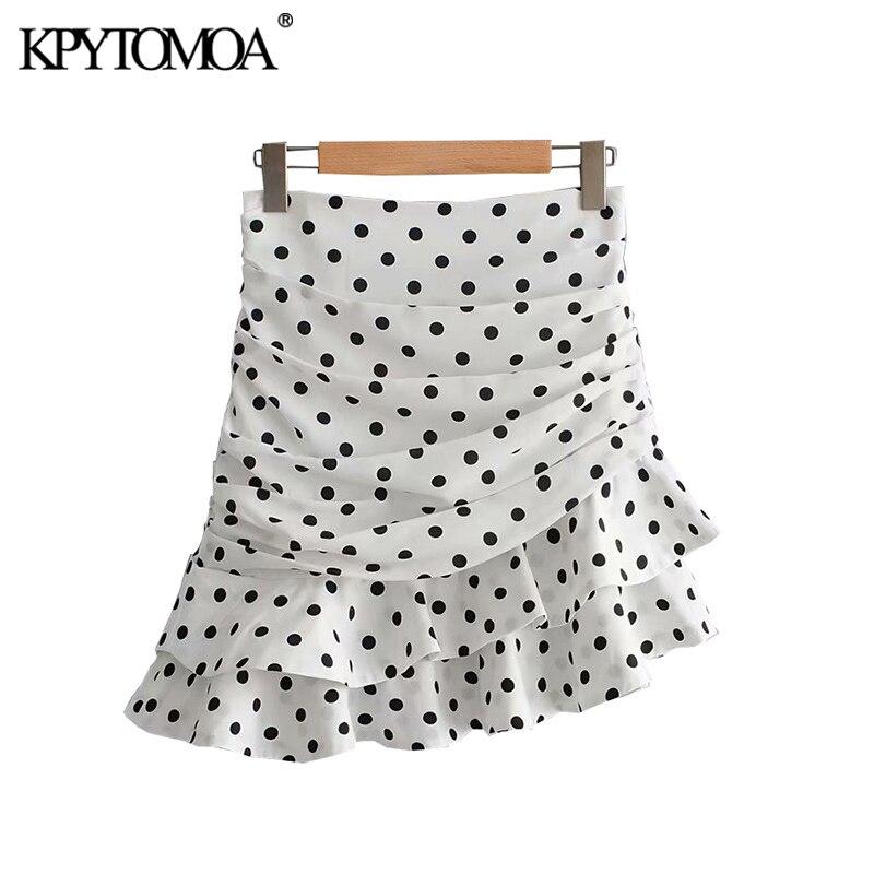 KPYTOMOA Women Fashion Polka Dot Ruffled Irregular Mini Skirt Vintage A Line Back Zipper Female Skirts Faldas Mujer