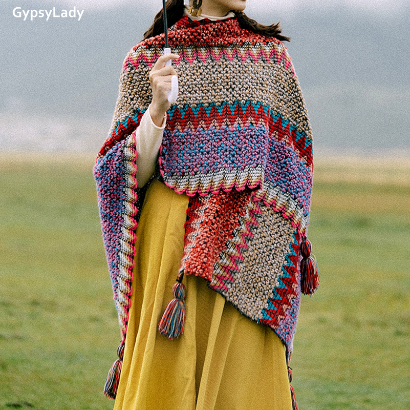 Купить винтажная накидка gypsylady в стиле бохо верхняя одежда красное