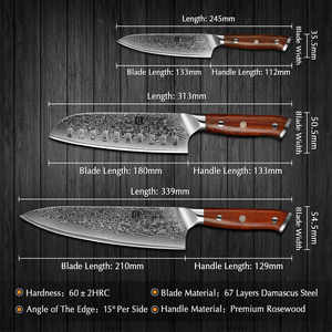 Image 2 - XINZUO 3PCS Pro מטבח סטי סכין יפני מזויף דמשק פלדה שף Santoku סכיני נירוסטה Rosewood ידית סכין שף