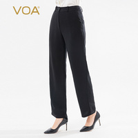 VOA Silk 60m Frosted Black Heavy Natural Waist Slip Pocket Micro Elastic Thick Simple Plain Straight Pants K1298