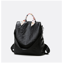 2021 New Trend Fashion Letter Embossed Bag for Women Large Capacity Vintage Female PU Backpack with Flower Silk Ribbon