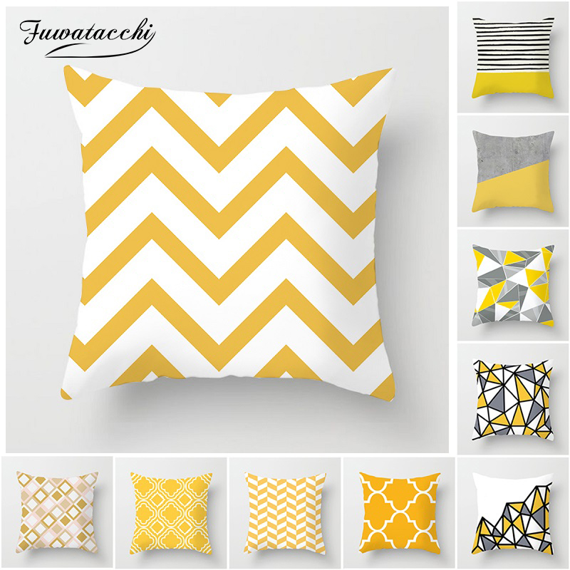 Fuwatacchi Geometric Cushion Cover Yellow White Gray Diamond Wave Throw Pillow Cover For Home Chair Sofa Decor Square Pillowcase