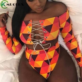 MUOLUX 2020 Thong Bikini Set African Swimwear Print Bandage Plus Size Women Tankini Long Sleeve Swimsuit High Waist Bathing Suit tropical pineapple plus size surplice tankini set
