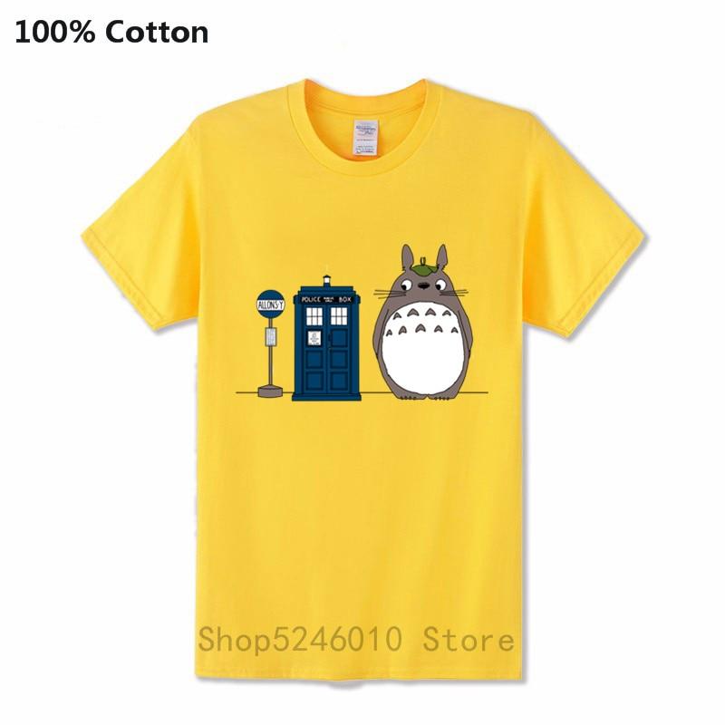 Rainy Day Tardis Totoro Tshirt Anime Doctor Who Totoro Studio Ghibli 100% Cotton Men's T Shirt Crazy Manga Short Sleeves T-Shirt
