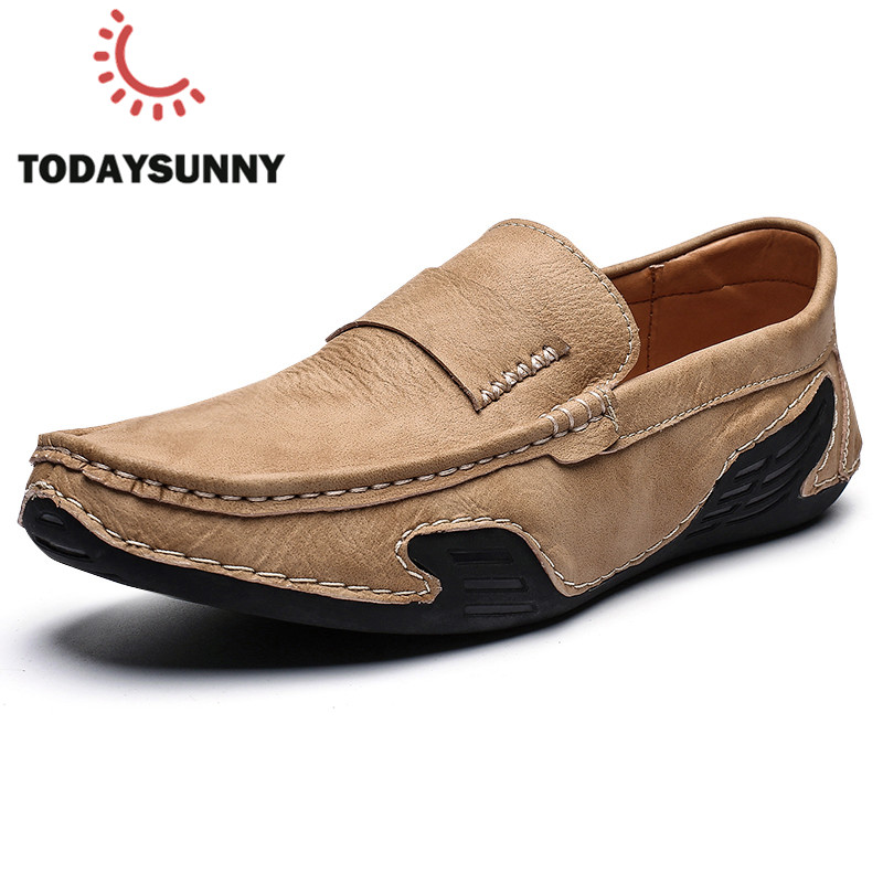 Spring Men Loafers Shoes Handmade Slip-On Leather Moccasins Sneakers Male Comfortable Lazy Shoes Zapatos Hombre Big Size 39-46#