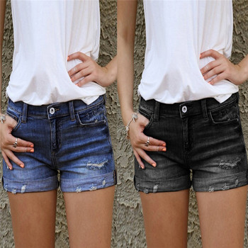 Vintage Ripped Hole Fringe Blue Denim Shorts Women Casual Button Pocket Jeans Shorts 2020 NEW Style Shorts