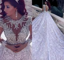 Middle East Bride Dresses Beaded Appliques Ball Gown Royal Luxury Jewel Collar Long Sleeves Bridal Gowns gaun pengantin 2019