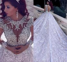 Vestidos de novia de Oriente Medio con apliques de cuentas vestido de bola de lujo real Collar de joya mangas trajes de novia largos gaun pengantin 2019