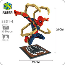 Building Star Marvel Avengers Fly Spider Man Super Hero DIY 3D Model Diamond Mini Small Blocks Toy for Children no Box