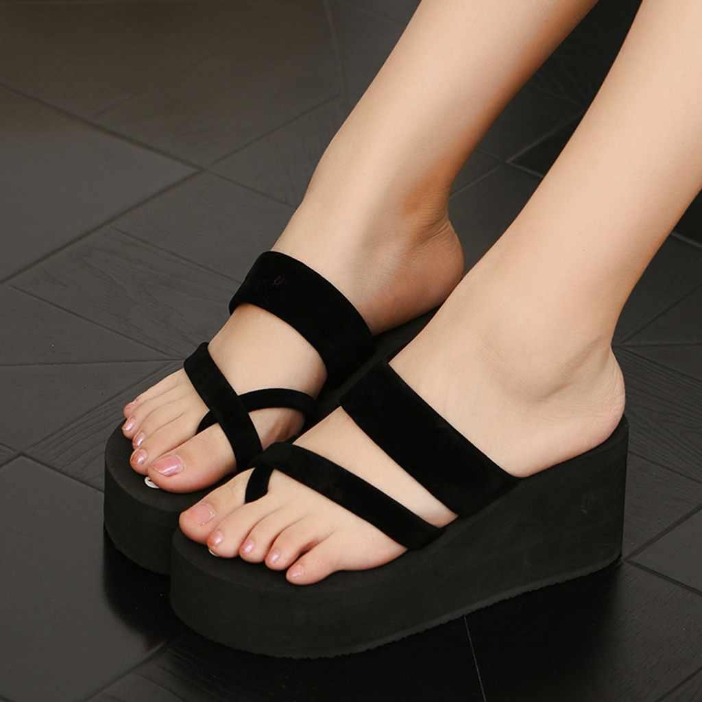 2020 verano playa chanclas zapatillas planas Mujer medio talón deslizamiento Casual mujeres zapatillas playa Zapatos Chanclas 1,7