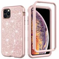 Capa de celular híbrida com glitter para iphone, capa amortecedora de silicone para iphone 12, 11 pro, max, xs max, xr, 7, 8plus, à prova de choque, 360