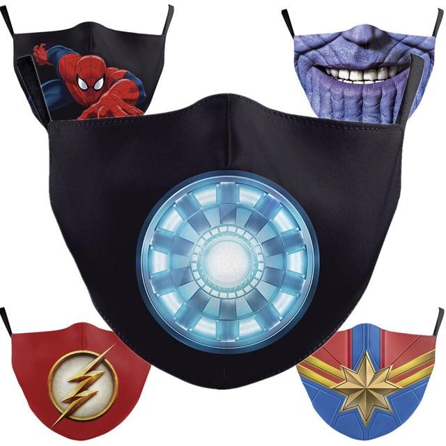 Superhero The Flash Thanos Iron Man Cosplay Face Mask Dustproof Adult Kids Masks